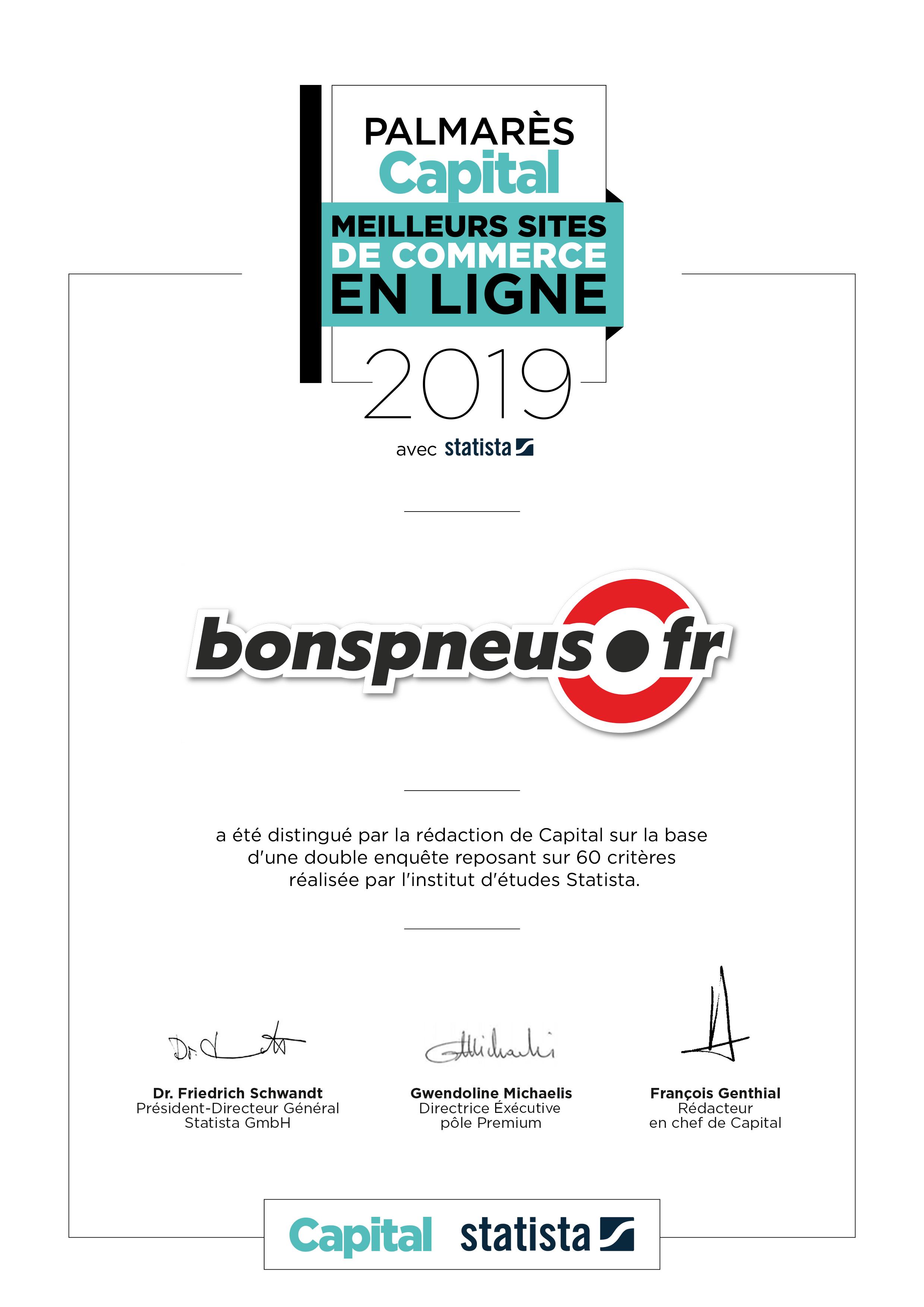 Distinction Palmarès Capital 2019