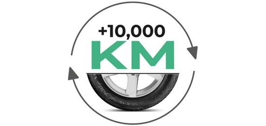 Um 10.000 km verlängerte Lebensdauer der Reifen