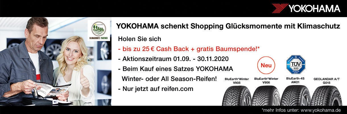 YOKOHAMA Reifen Cash-Back Aktionsbanner 2020