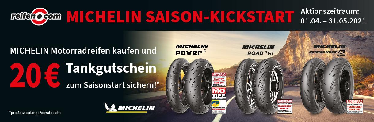 Banner Michelin Motorradreifen Tankgutschein